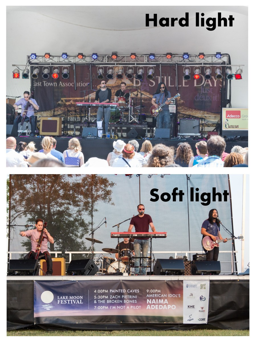 Hard light vs. soft light. Consider the quality of light in both of these photos and how the one on the bottom is less harsh.
