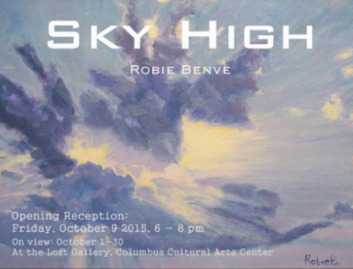 The card of my first solo art show in 2015: it was all about skies. :)
