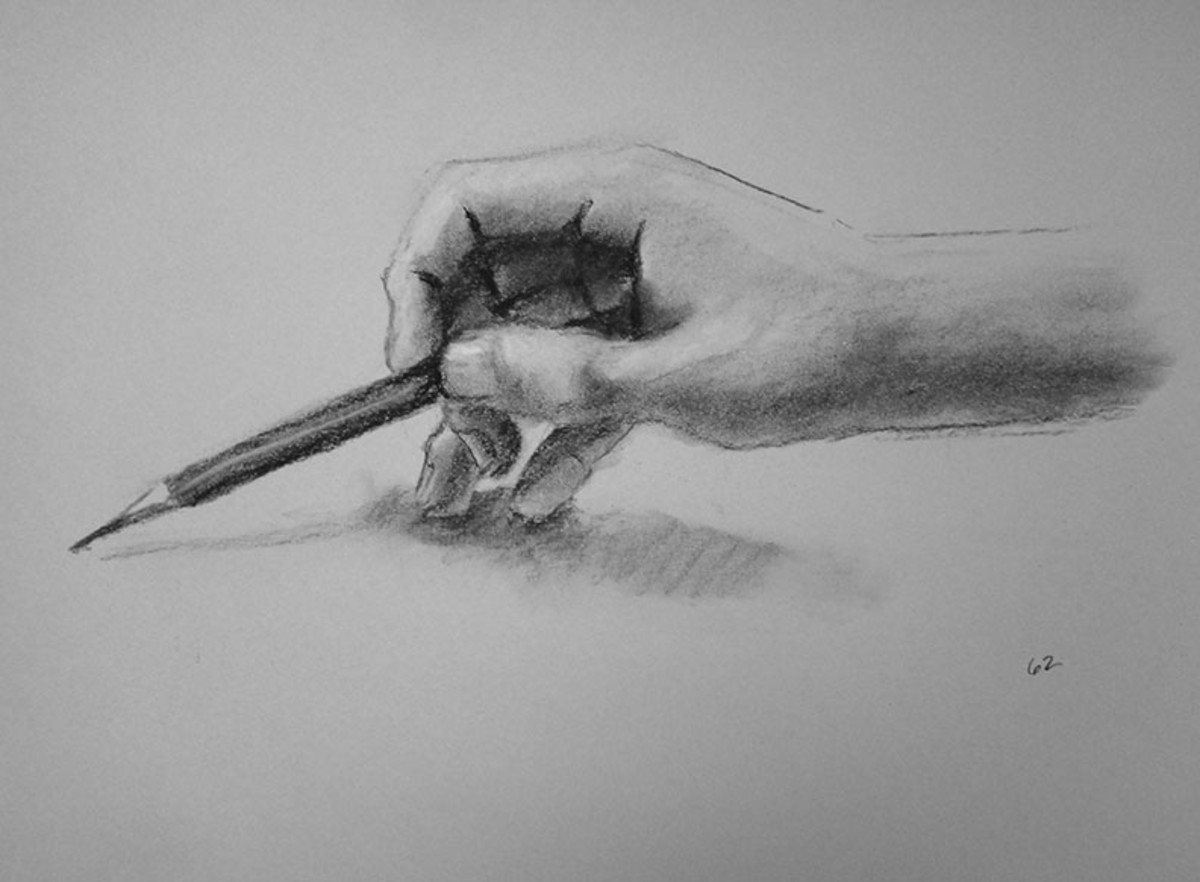 Charcoal drawing of an artist's hand.  #62