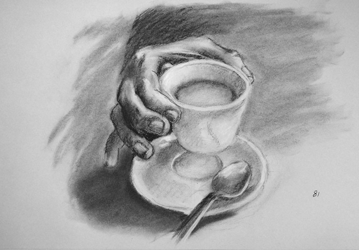 Charcoal drawing of a hand.  #80
