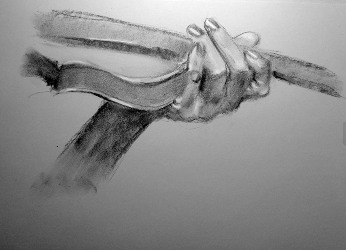Charcoal drawing of a hand, #4