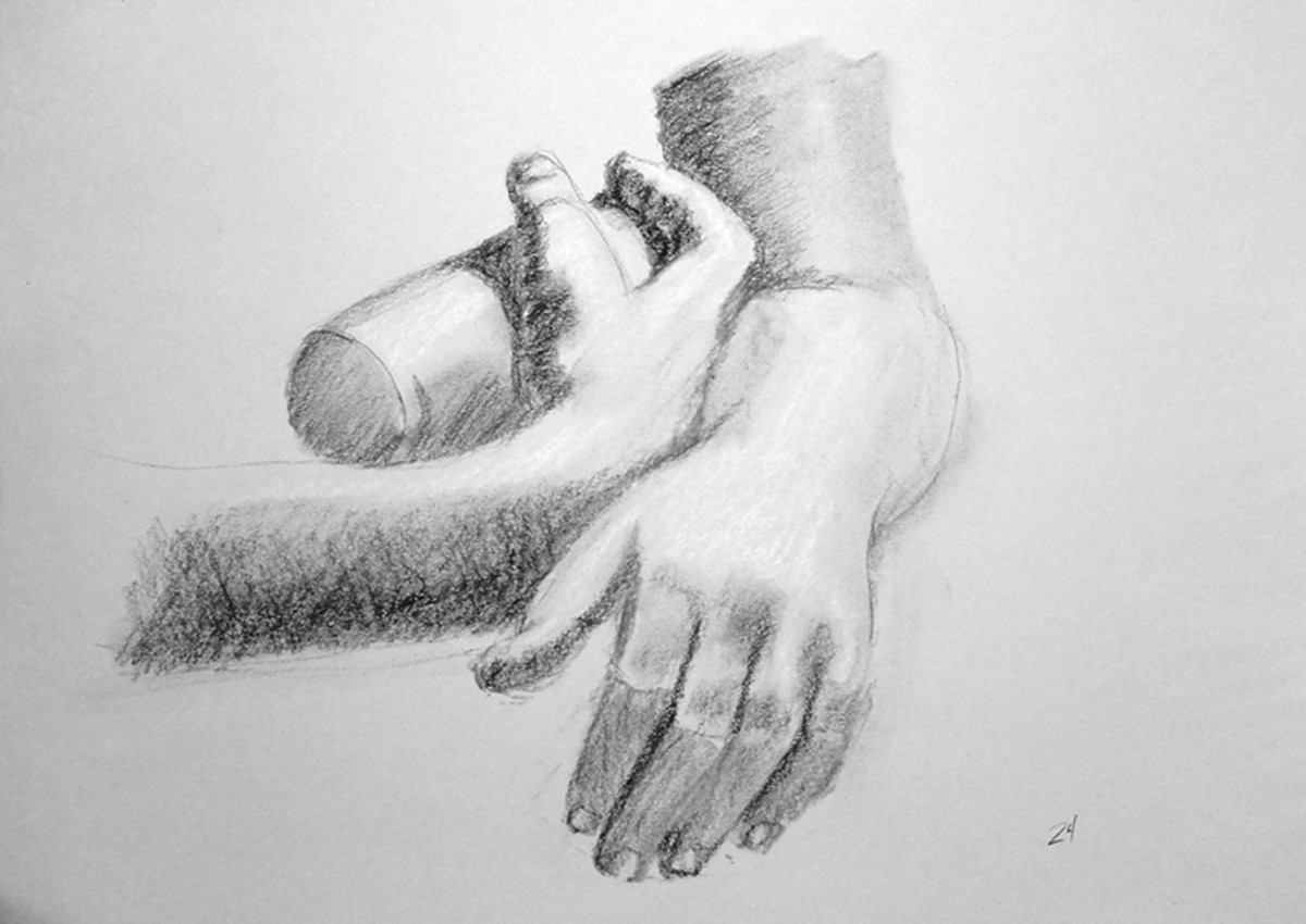 Charcoal drawing of hands.  #24