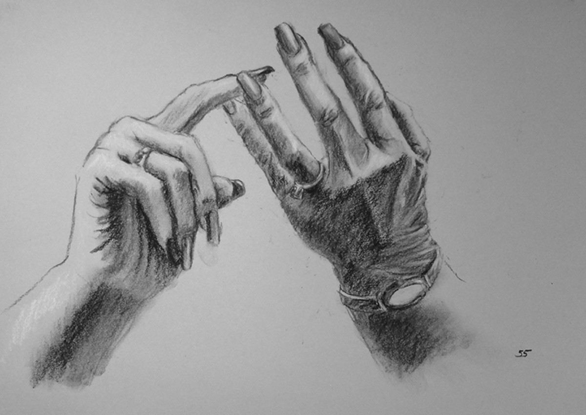 Charcoal drawing of my Mom's hands.  #55