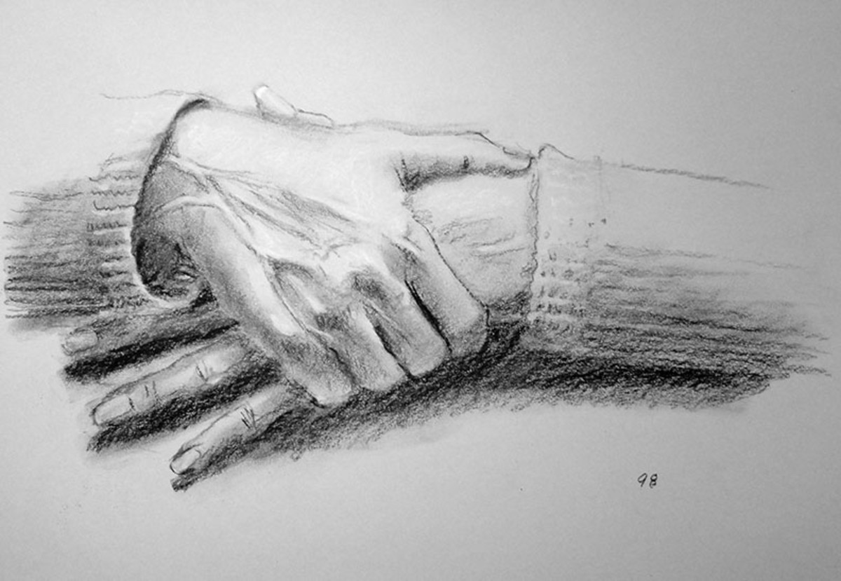 Charcoal drawing of hands.  #98