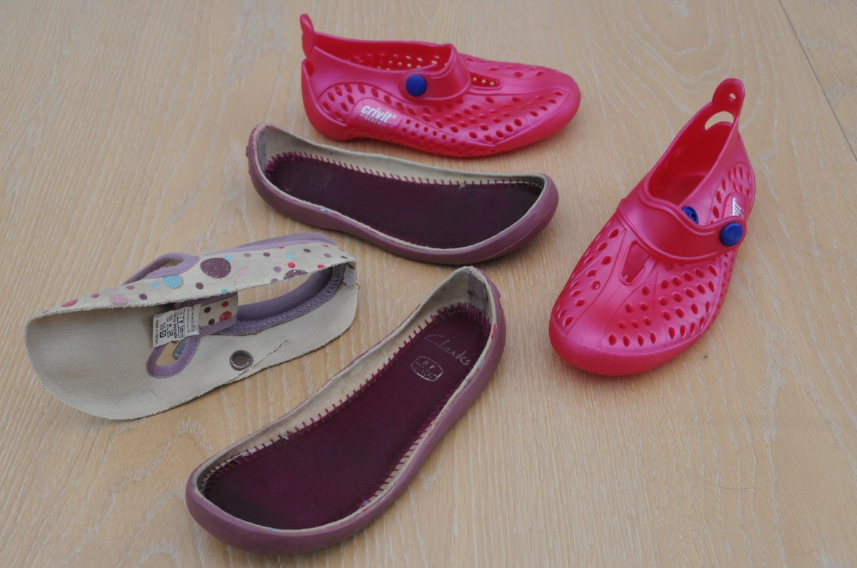 Recycled 'Crivit' Jelly Beach Shoes are used in place of expensive Shoe Lasts  Soles are recycled from Clarke's Kiddies shoes..