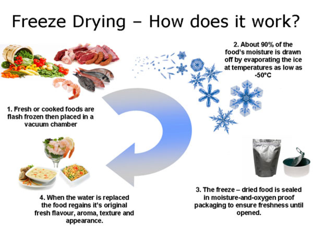 Freeze drying process in food; the same applies to leaves and flowers