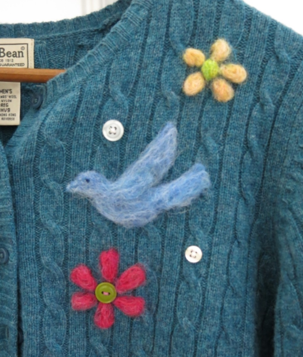 Completed needle felted design on the front of my sweater.