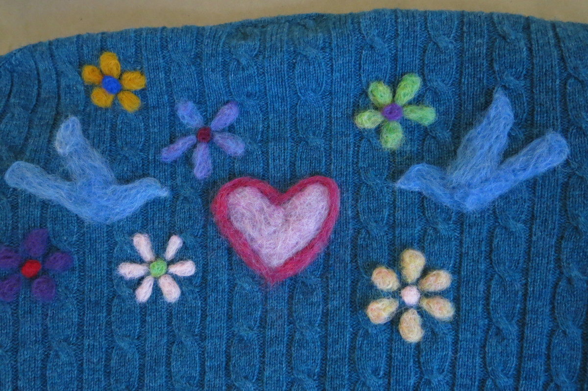 The back design of my needle felted sweater.
