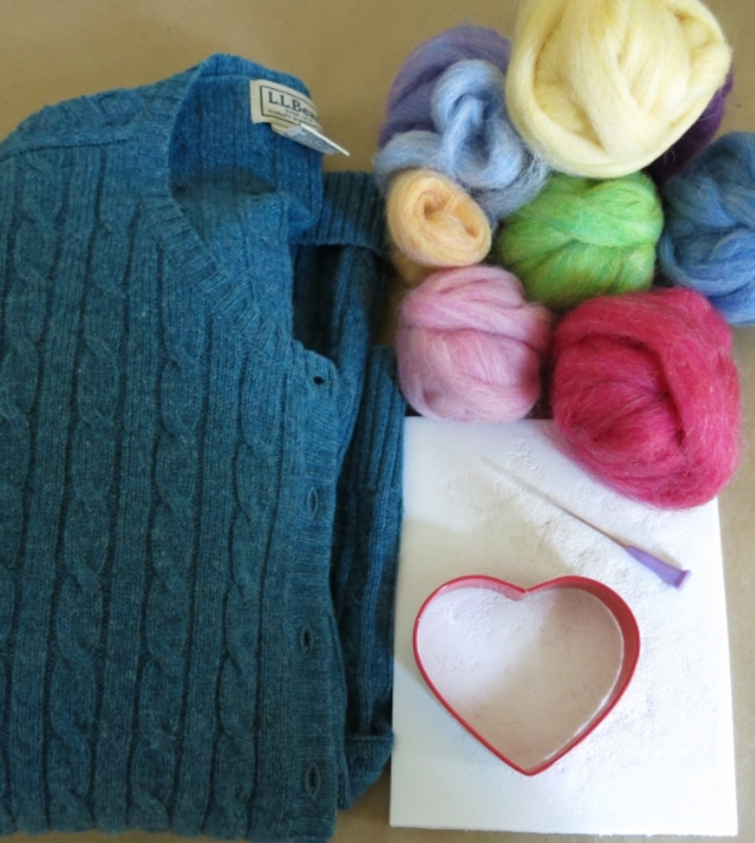 Basic Materials for Needle Felting a Sweater