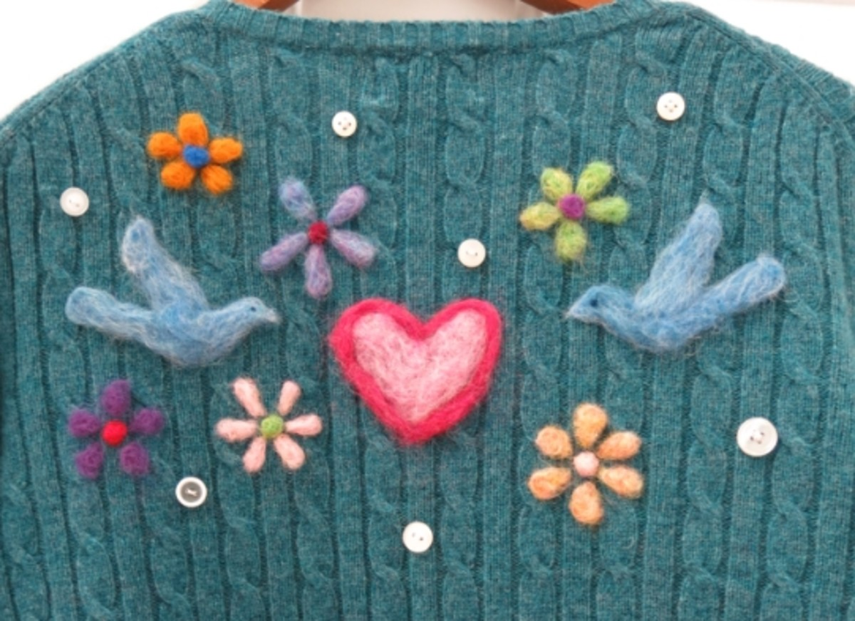 Completed needle felted design on the back of my sweater.
