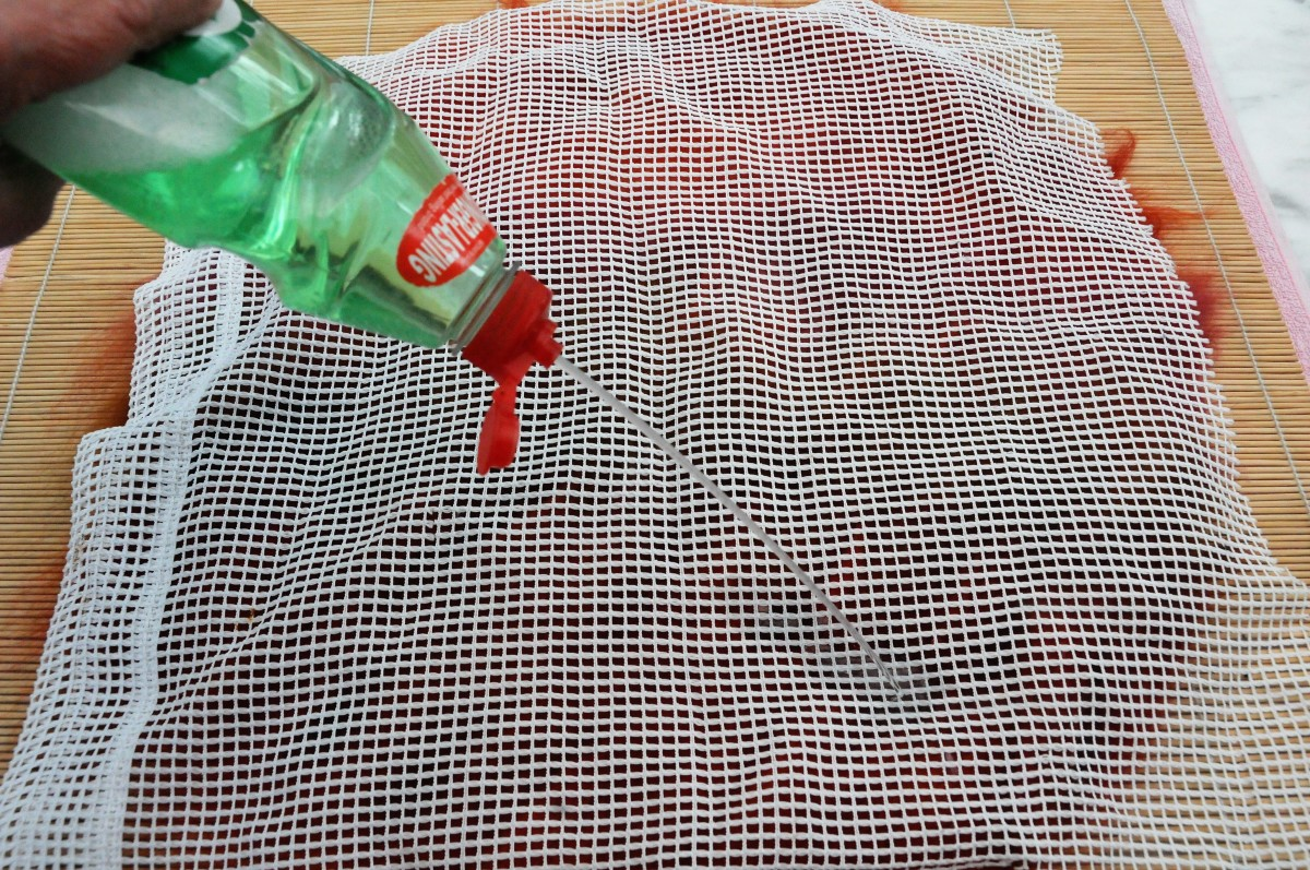 Cover the project with curtain netting and wet with soapy water.