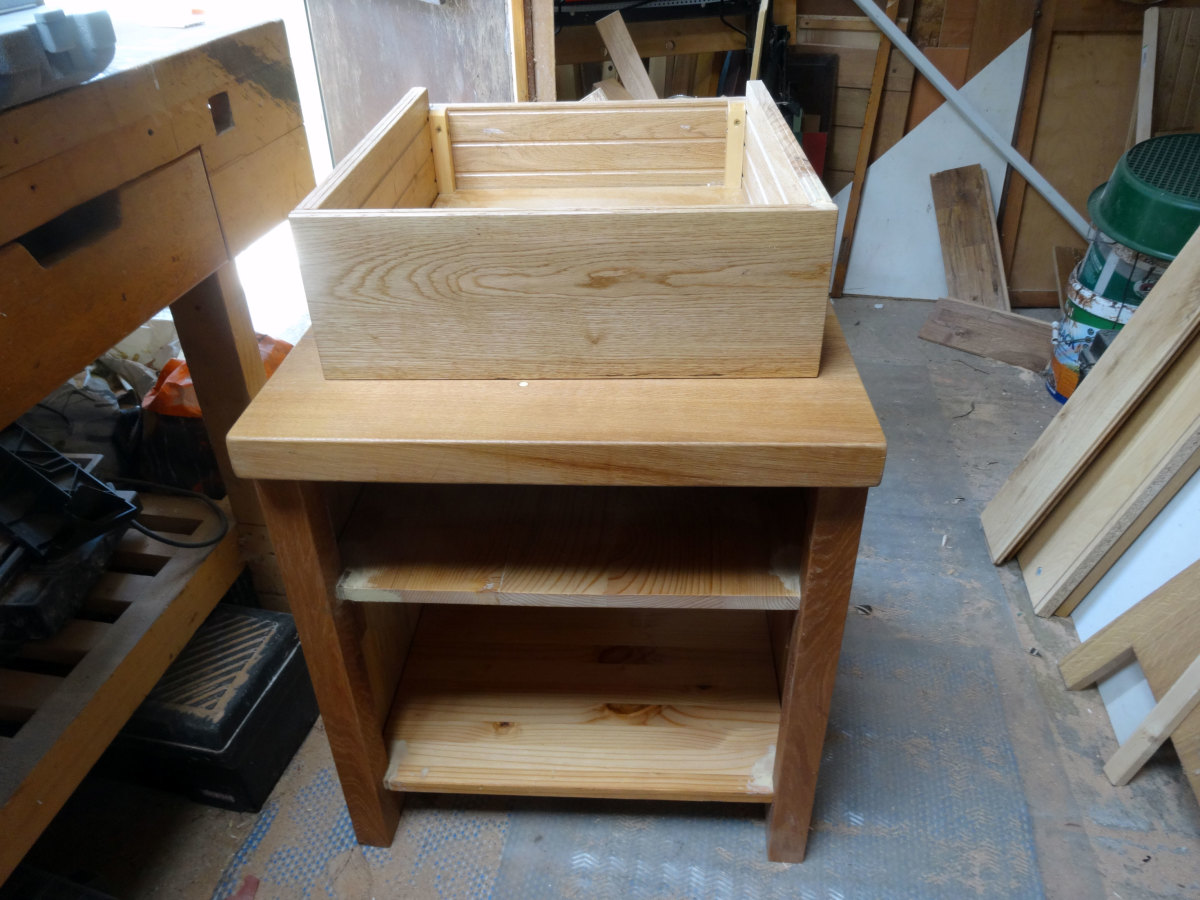 Drawer made from oak floorboards with a solid pine base.
