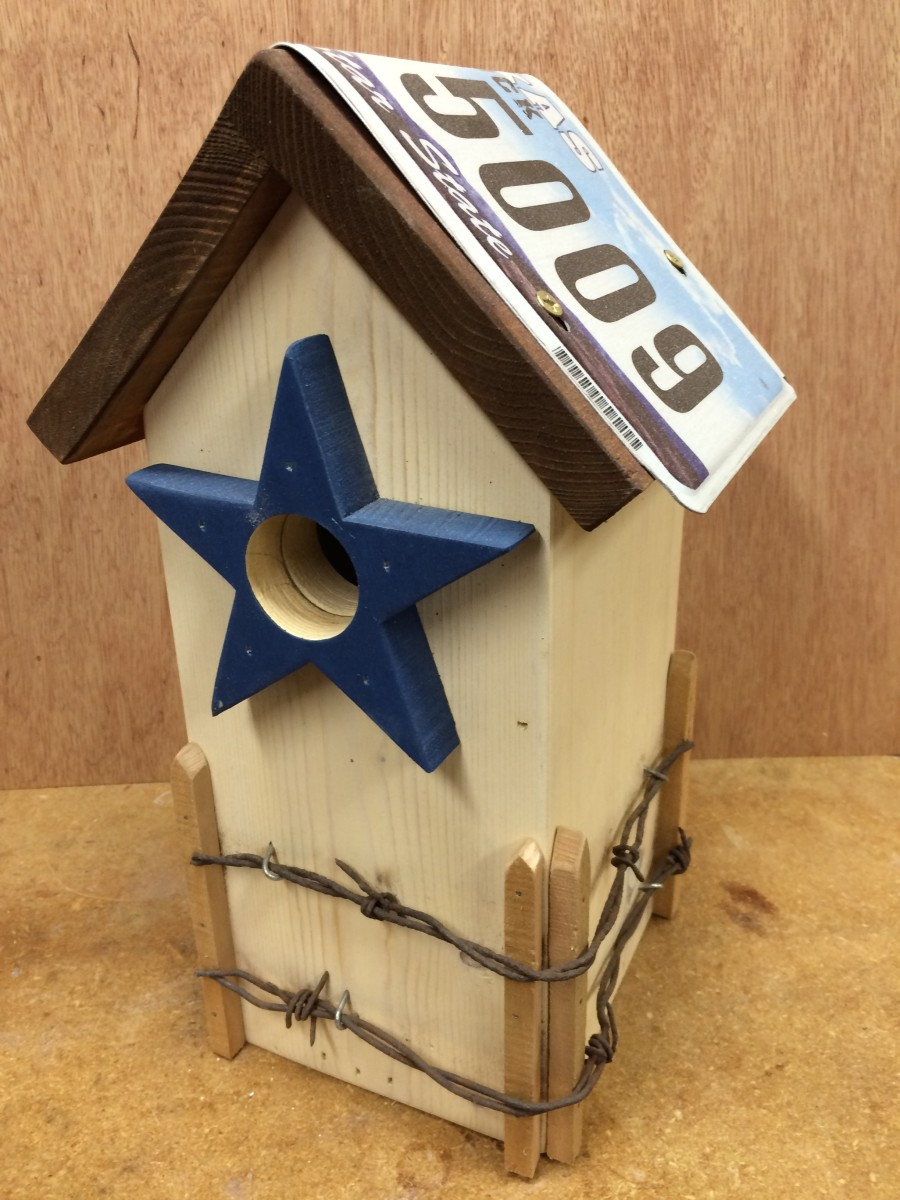 Texas License Plate & Barbed Wire Bluebird House