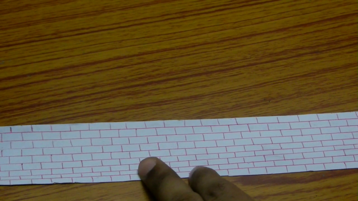 When you are done with drawing the bricks, the final design will look like this picture.