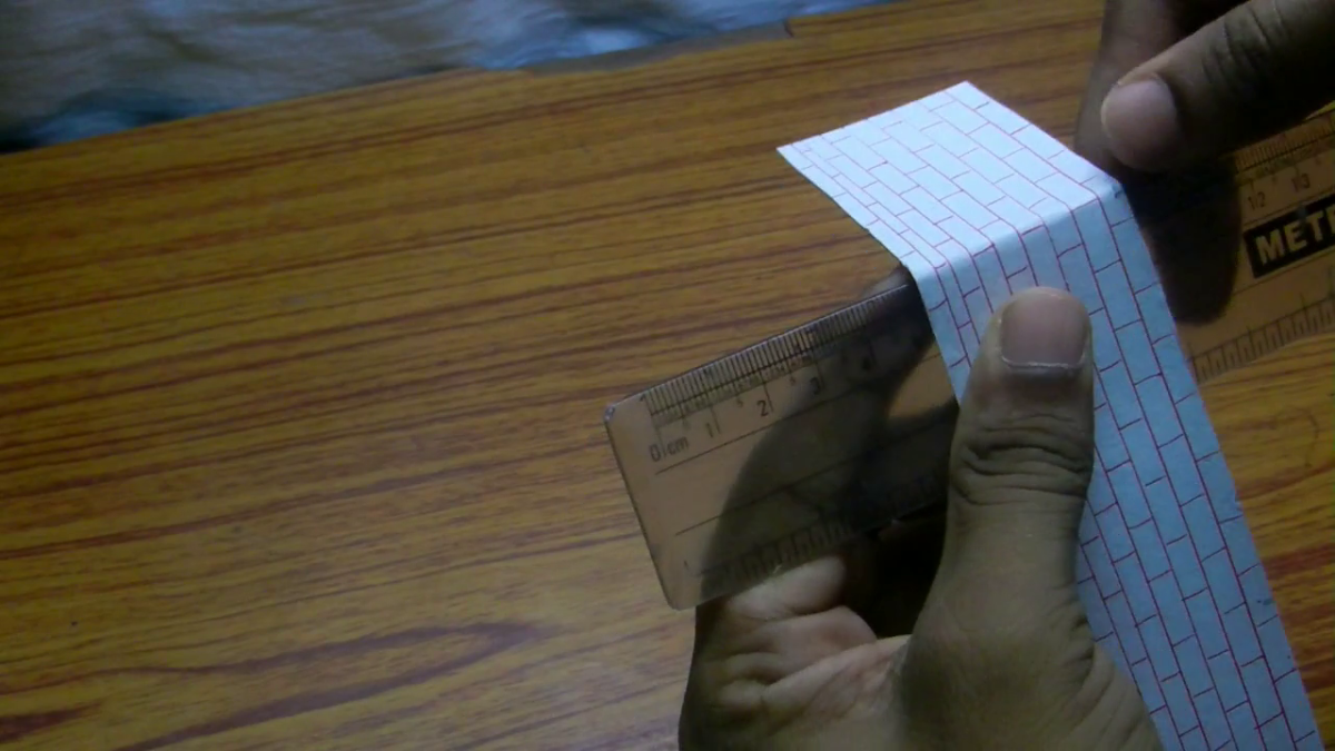 Fold the paper at the points of marking using a scale in order to make the foldings straight.