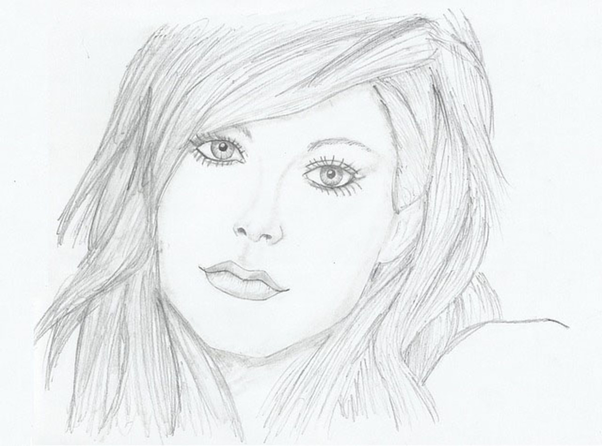 A portrait drawing of a young girl.