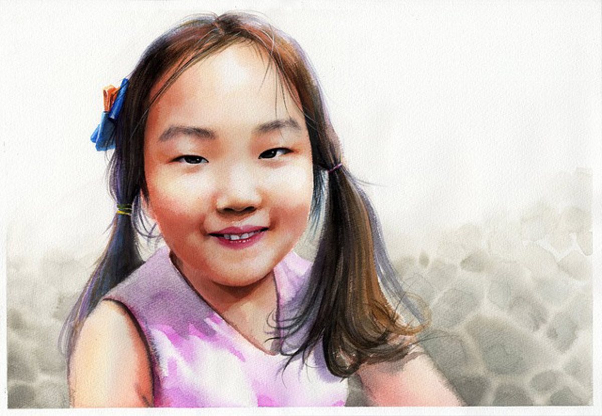 A realistic portrait duplication of a young girl.