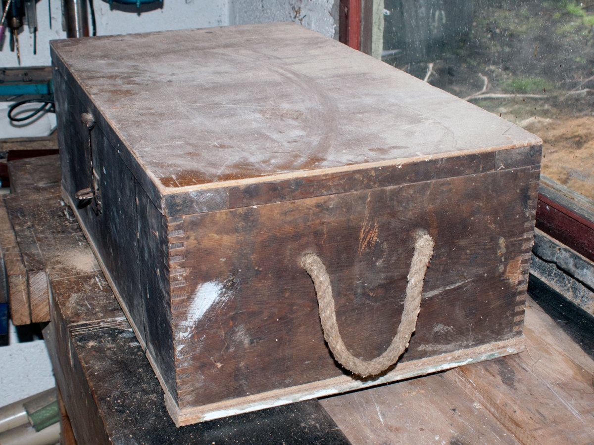The original wooden tool chest before conversion to a sewing box