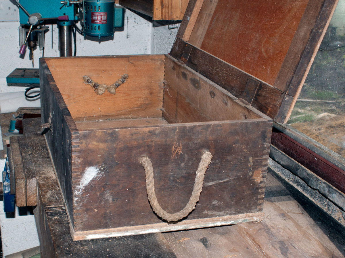 Old tool chest with its lid open