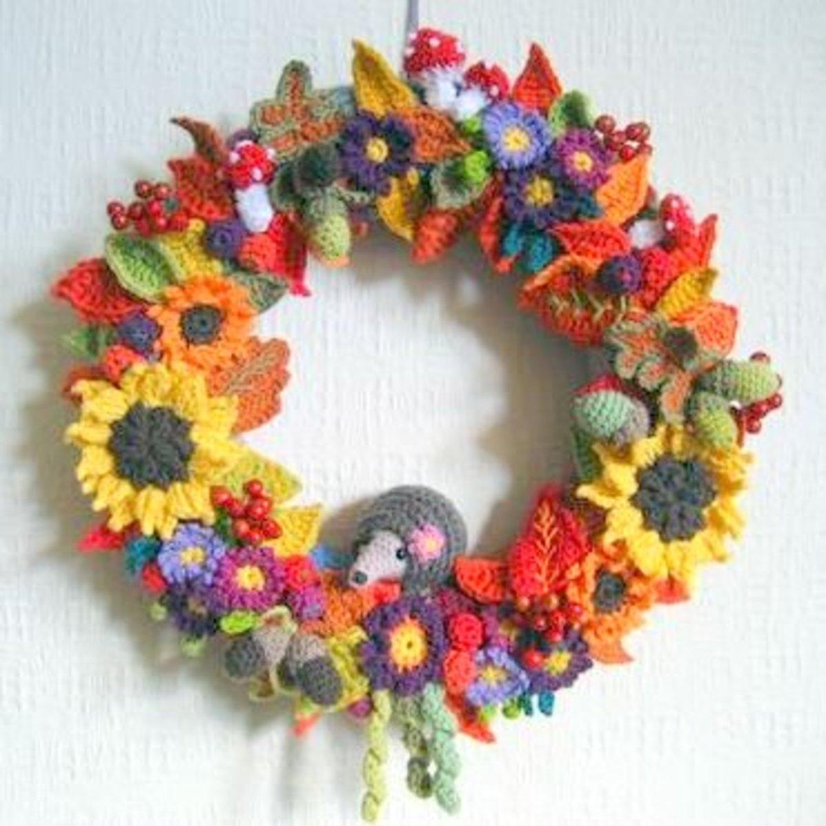 12 Free Fall & Thanksgiving Wreaths Crochet Patterns ...
