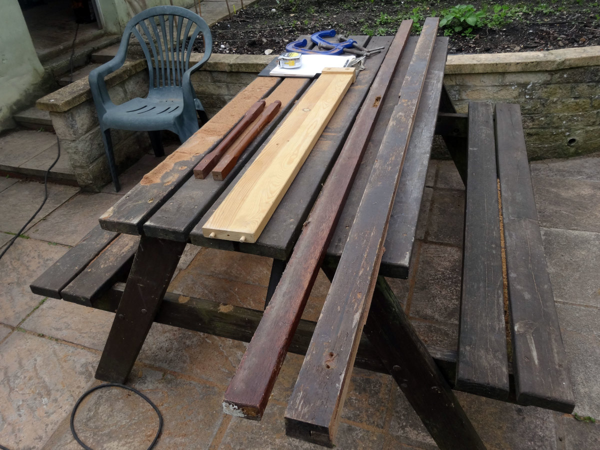 Salvaged Wood from an old teak French door for making a second sofa table