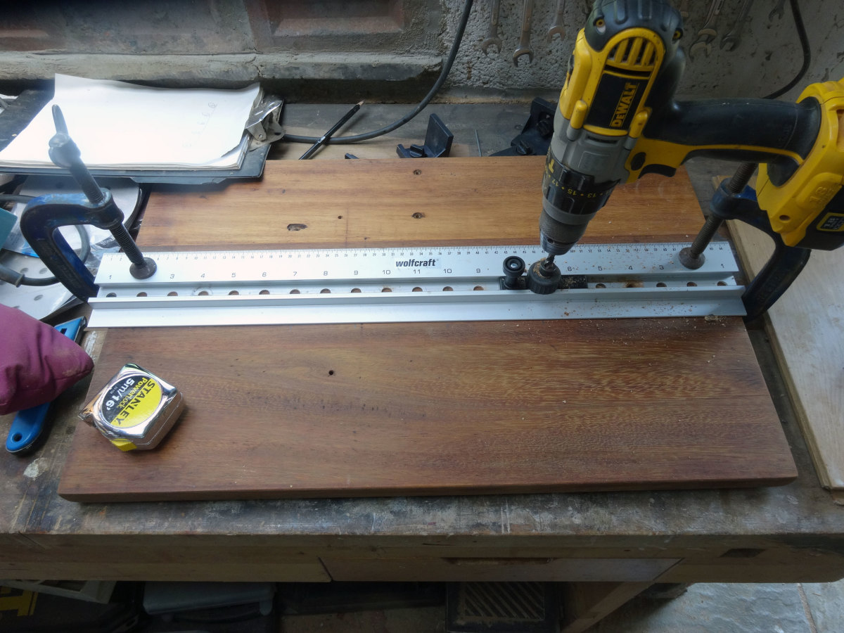Using the Wolfcraft dowel joint jig on the table top