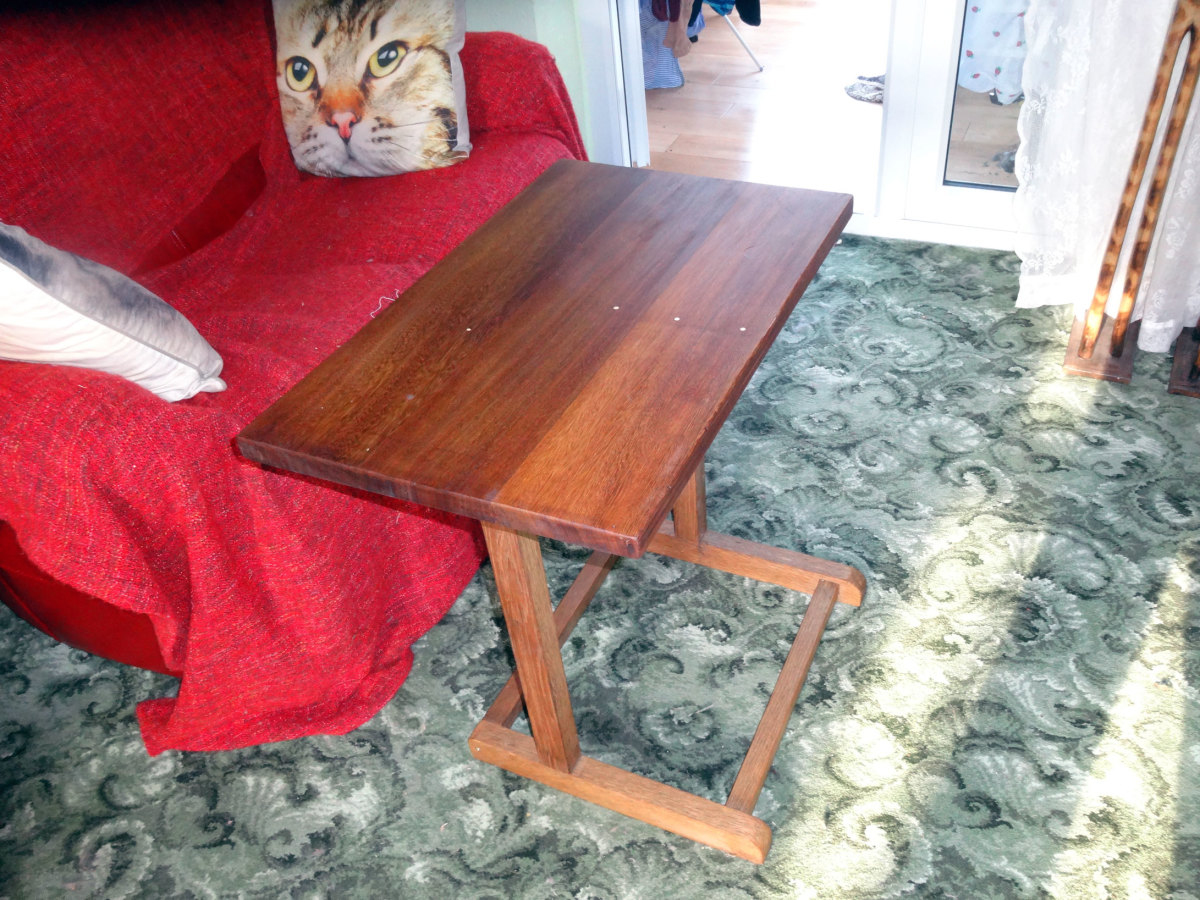 Oak sofa table (with mahogany table top) made from an old valet stand