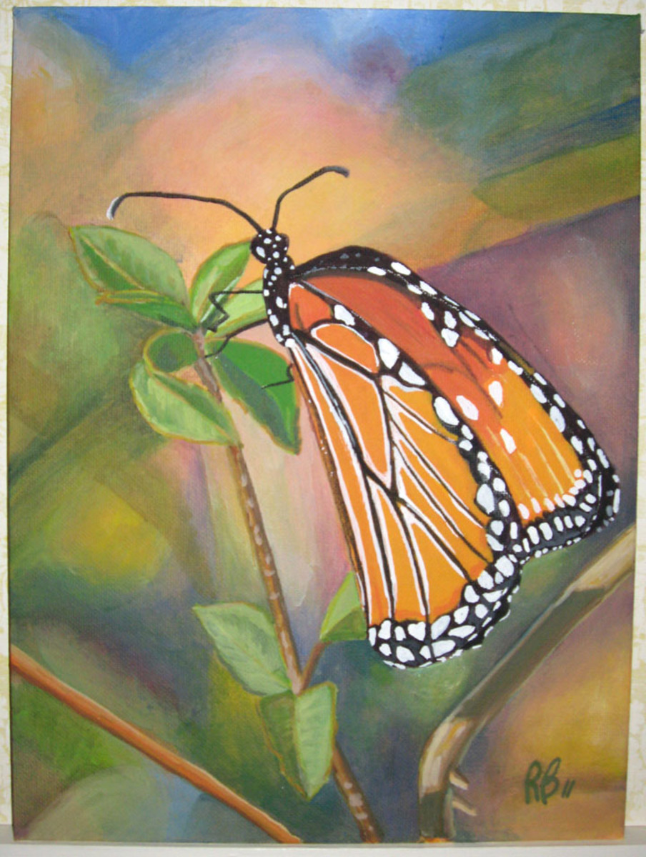 """Monarch Butterfly"" acrylic painting from a photo. Note how I made all the white spots truly white. Now I would mix a bit color into them. copyright 2011, All Rights Reserved"