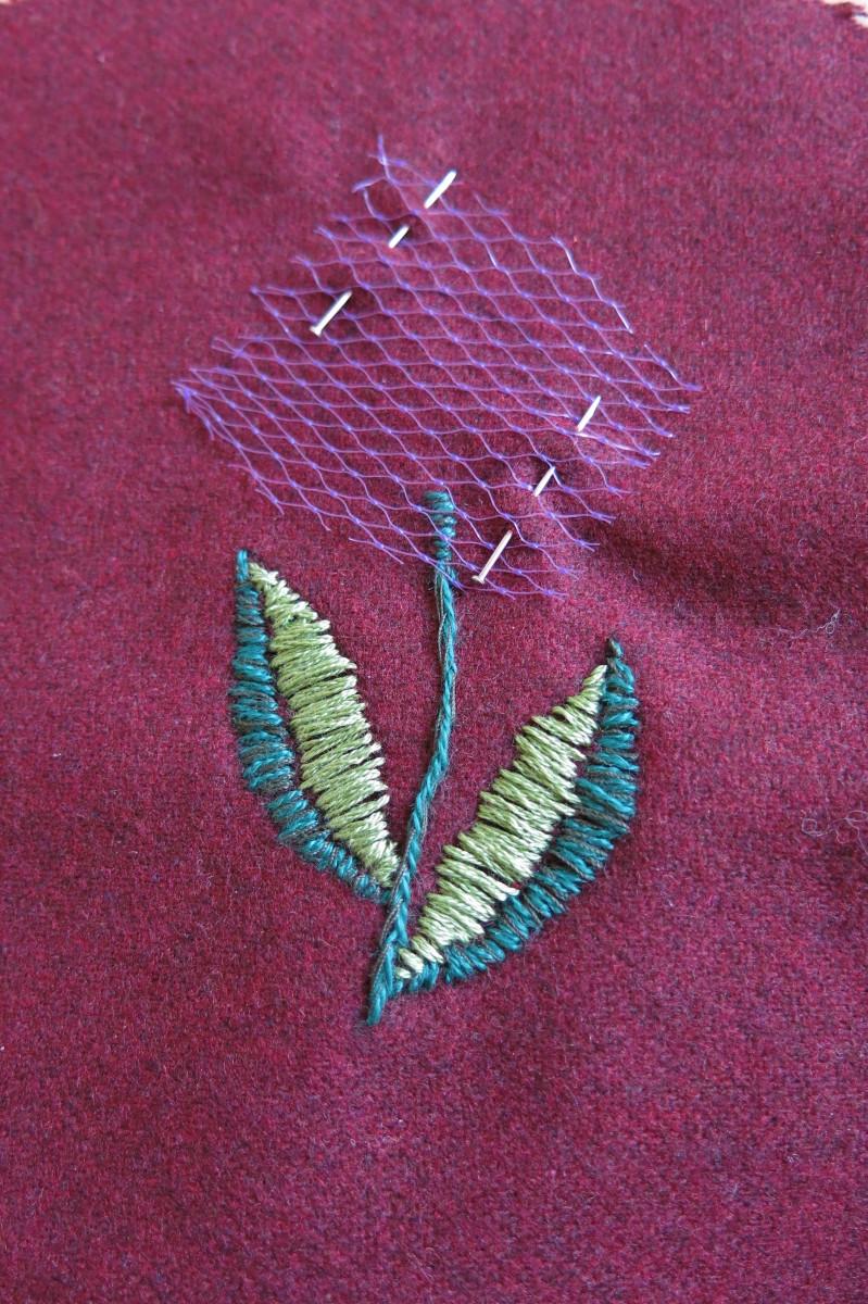 basic embroidery on a pincushion