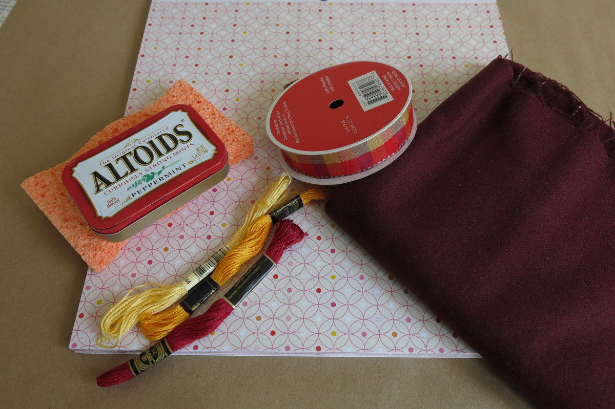 Materials for making an Altoids tin pincushion and notions box