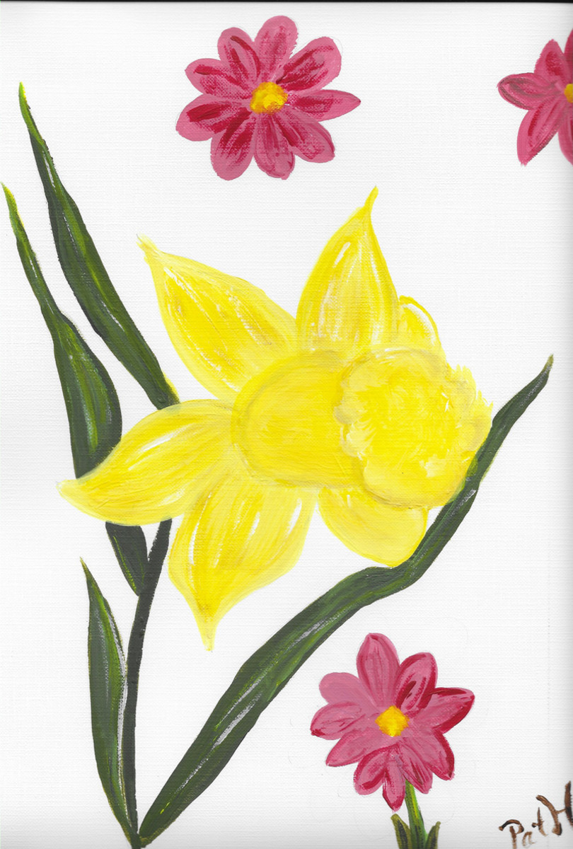 The daffodil, stem, and other flowers are painted free hand. No previous drawing has been done.