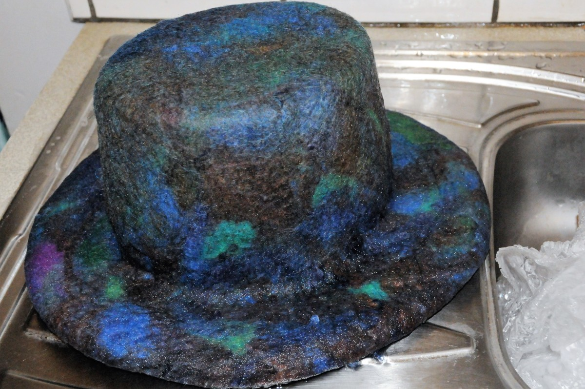 The rinsed, shaped and trimmed top hat ready to dry in a warm spot.