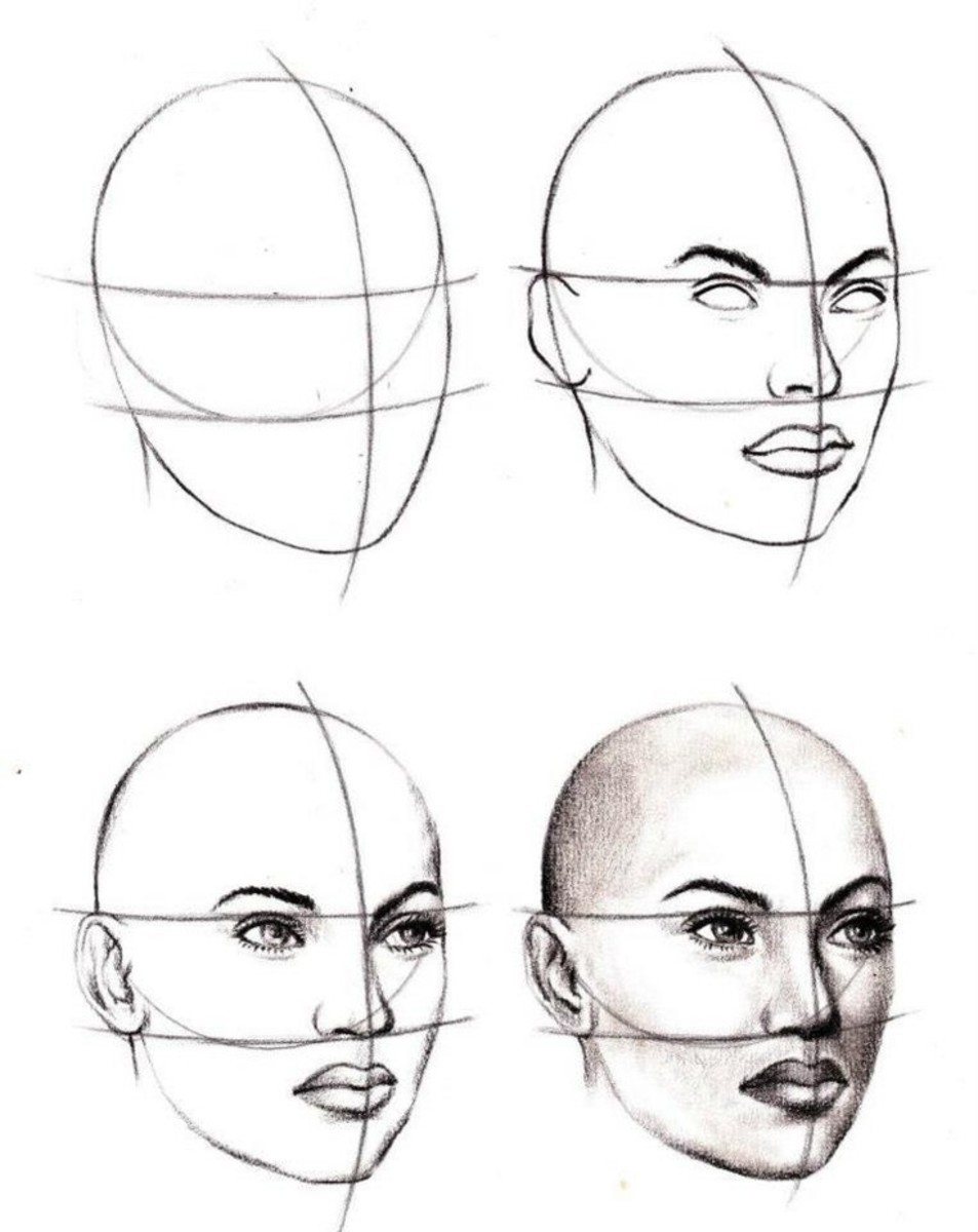 An example of drawing a 3/4 view head usint the oval technique. Only here, the style is more realistic than manga.