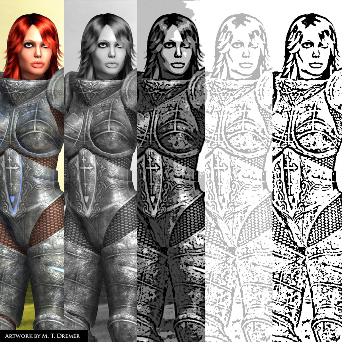 In order, from left to right, starting with the original render. Notice the difference from the cover picture, which was rendered with lighter textures.