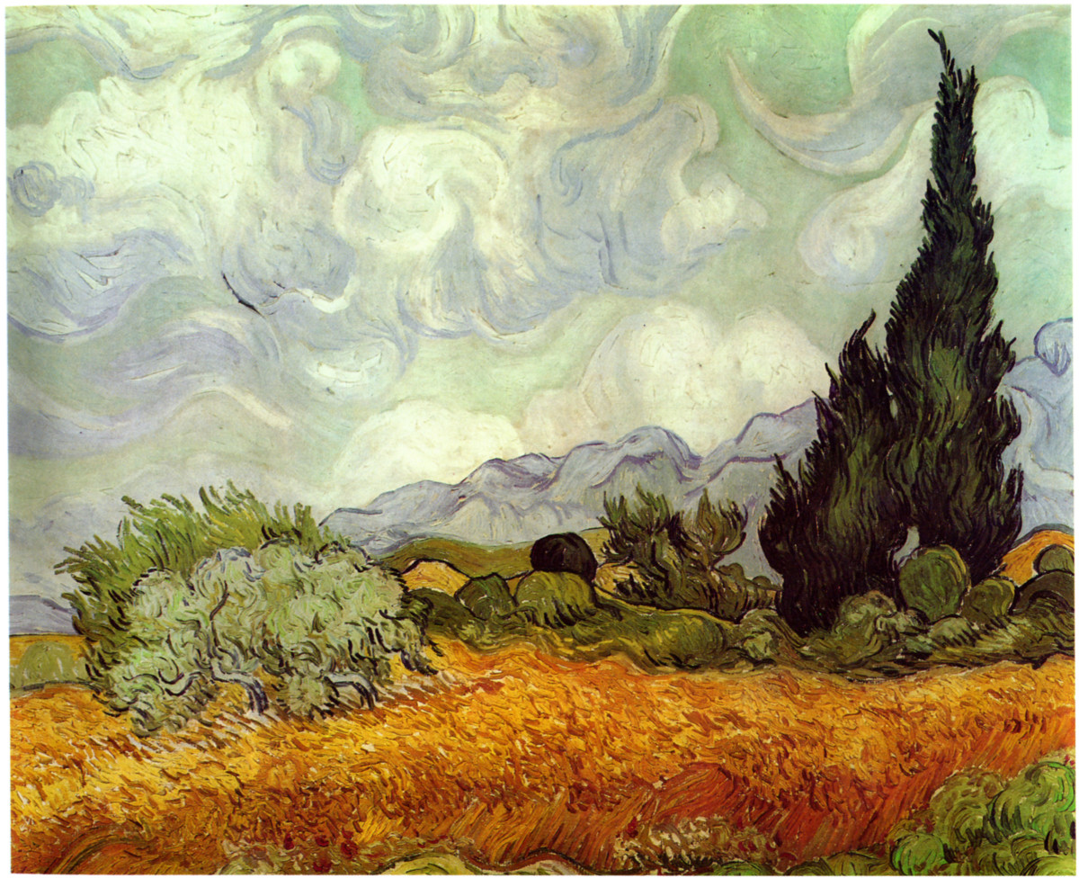 """Field with Cypresses"", by Vincent Van Gogh.  If you squint at this painting you can see the L shape formed by the tree and the foreground, and the diagonal line following the tree profile, the central bush, and the bottom of the bush on the left."
