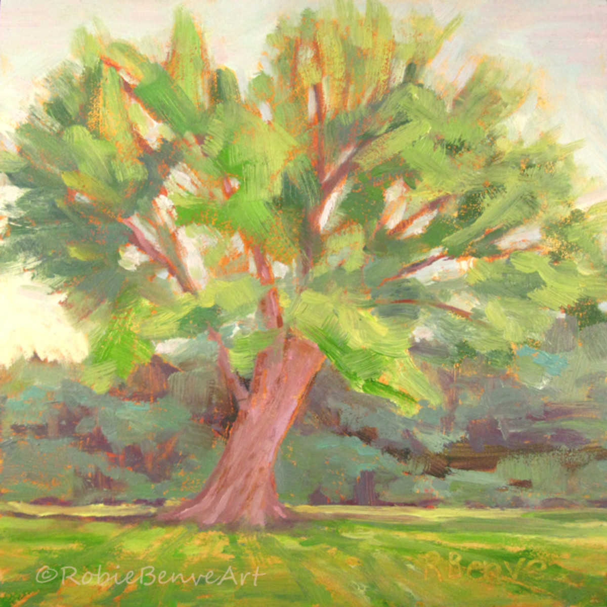 "Making this painting I focused on radiating lines formed by the tree branches and the grass. ""Just Mowed"". Source: ©RobieBenve, all rights reserved"