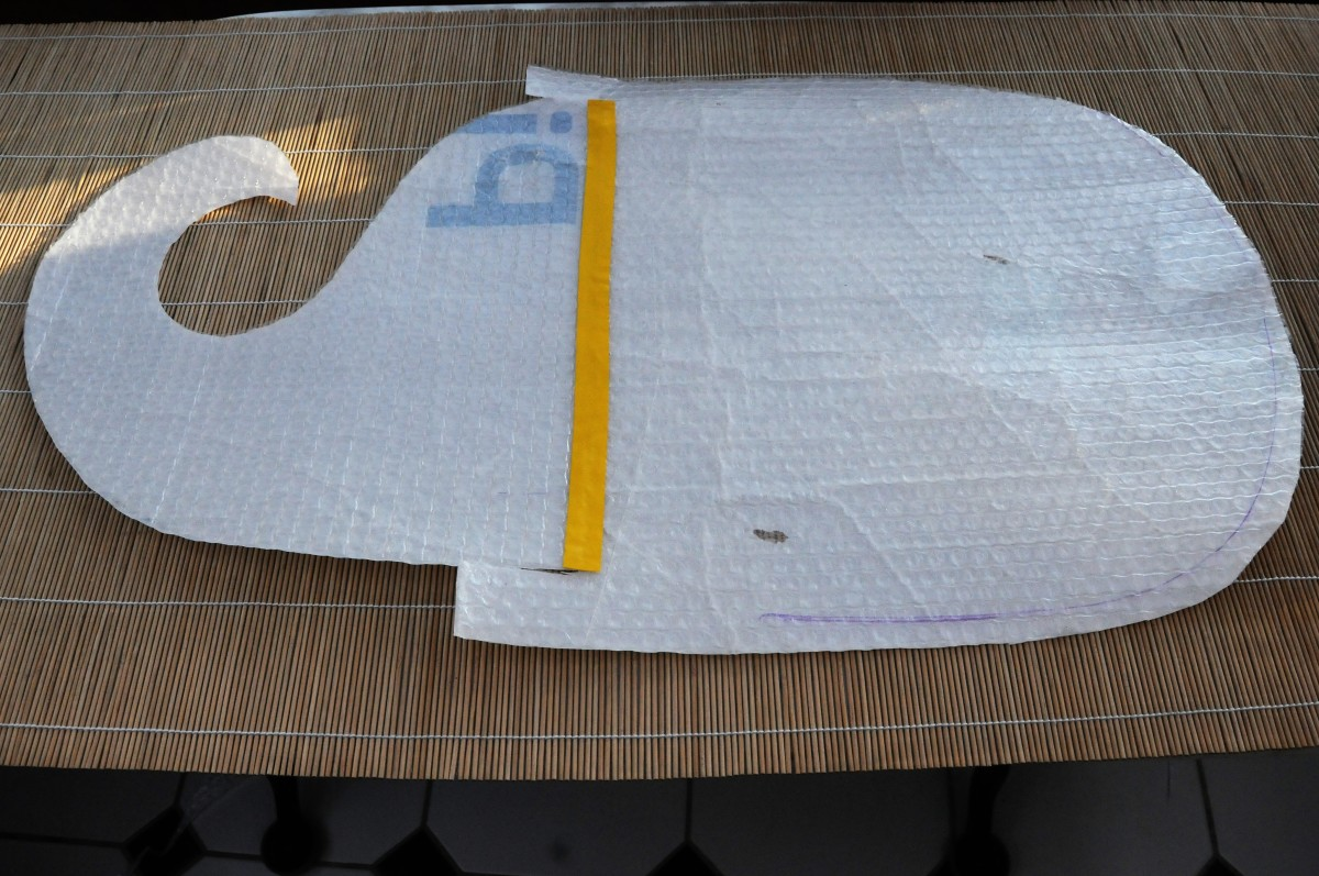 Bag template with the two pieces taped together
