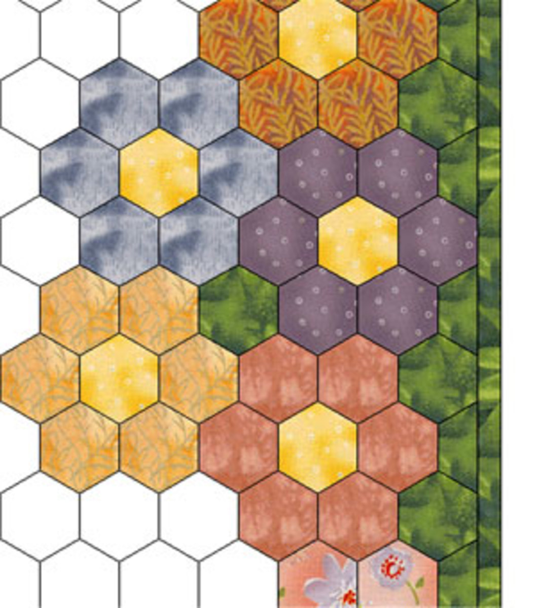 Straighten the edges with half hexagons
