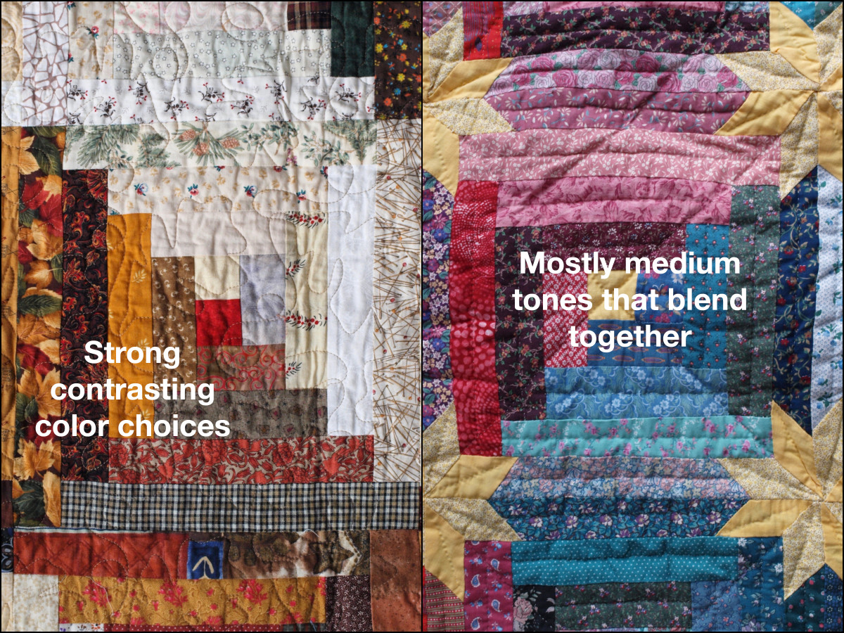 Both of these quilts are made using the log cabin pattern.  Unfortunately, the one on the right used mostly medium hue fabrics and the design got a little lost.  The pattern on the left stands out much more.
