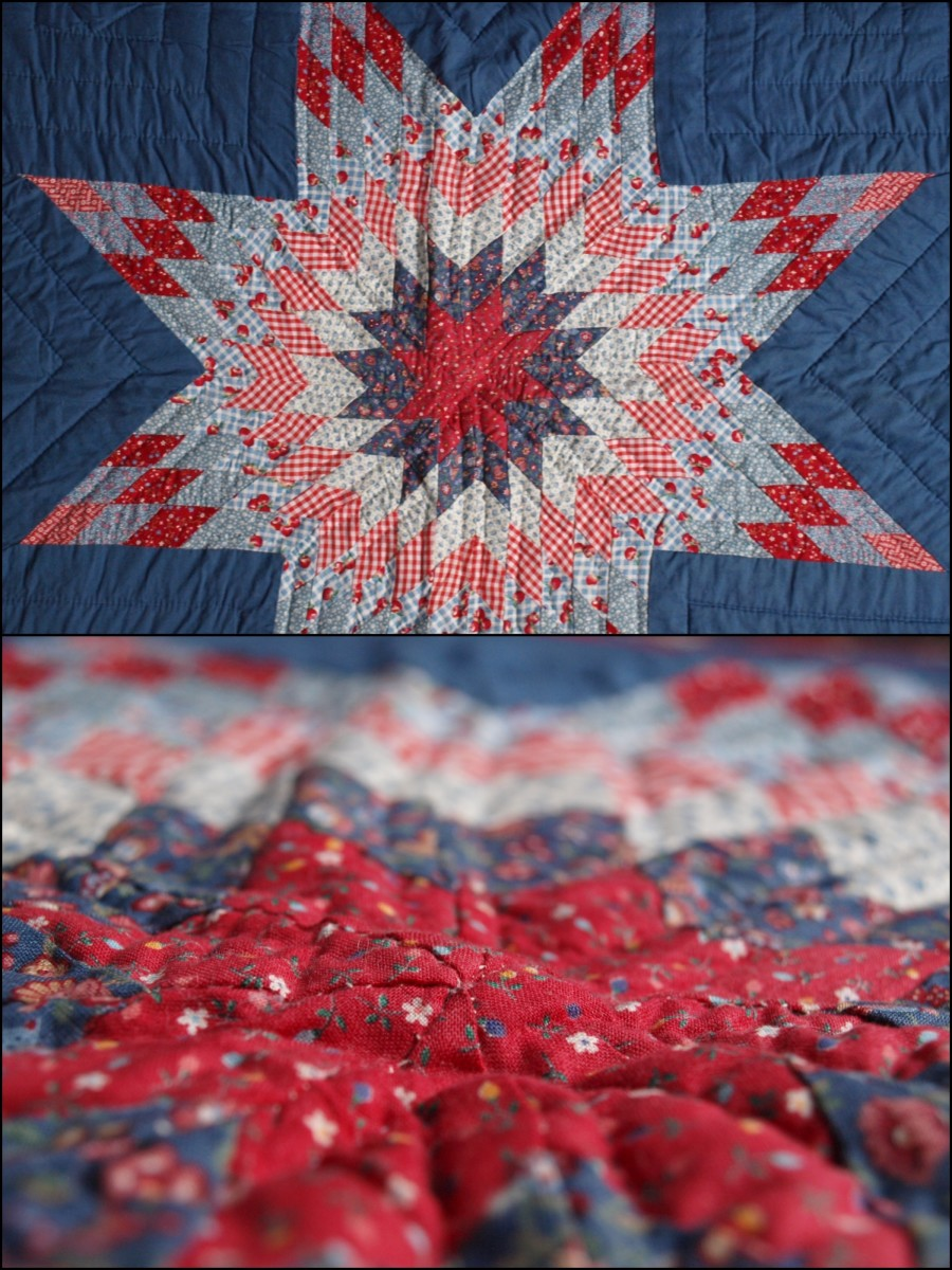 For my 3rd quilt I chose the Lone Star pattern, one of the more difficult traditional patterns out there.  I had no idea what I was doing and almost no seams match.  The quilt doesn't lay flat at all.