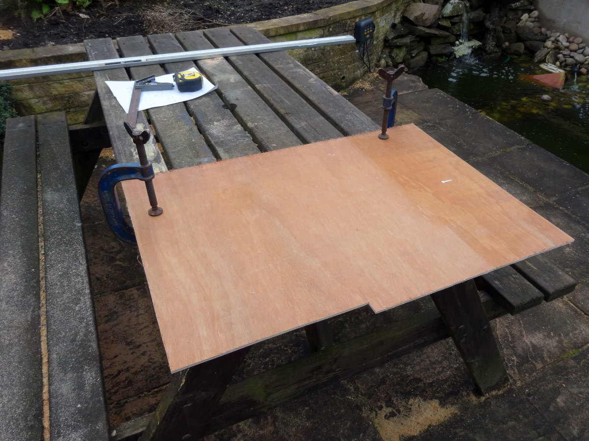Thin sheet of plywood cut to size for the back panel.