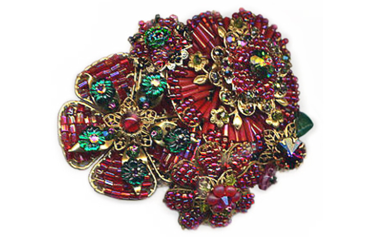 Layered, cagework beaded filigree collage brooch with vintage stones and filigree, by Margaret Schindel