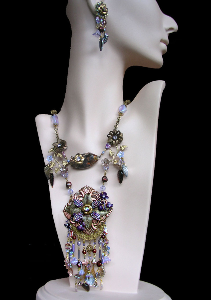 One-of-a-kind, vintage inspired collage necklace by Margaret Schindel
