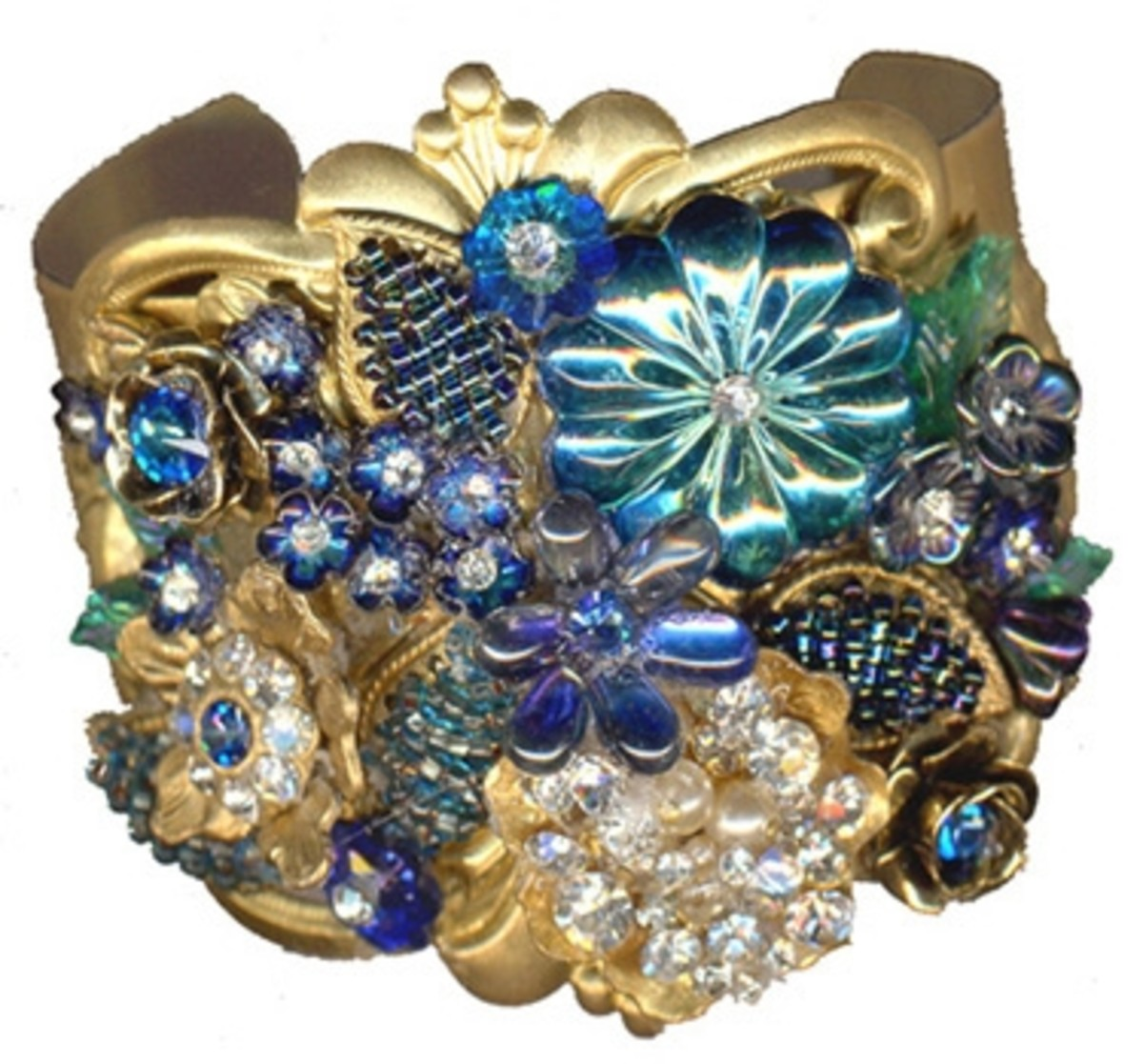 Collage cuff bracelet with genuine and reproduction vintage components, by Margaret Schindel