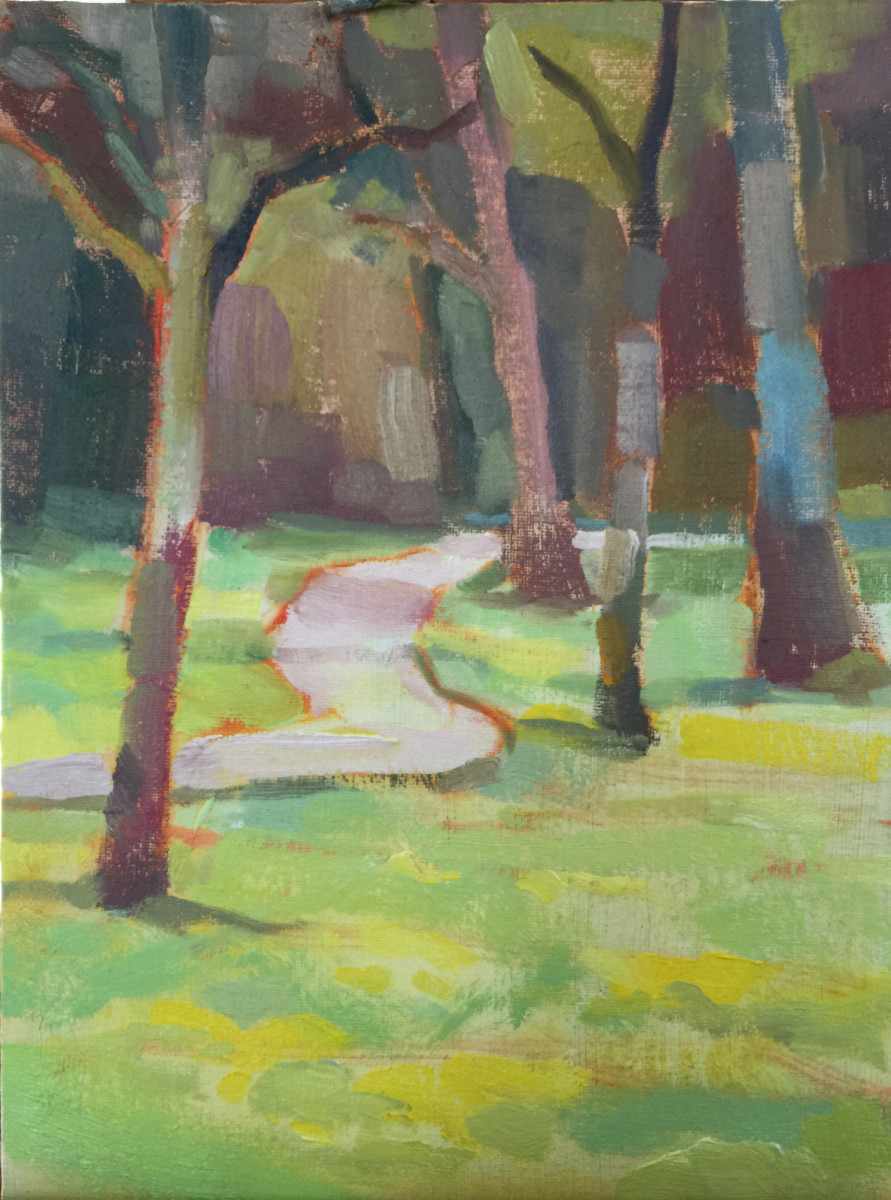 The artist mixed colors very carefully, in order to represent the value relationship between each trunk and the background.Painting demo done en plein air following the value study above, by Joe Lombardo, all rights reserved