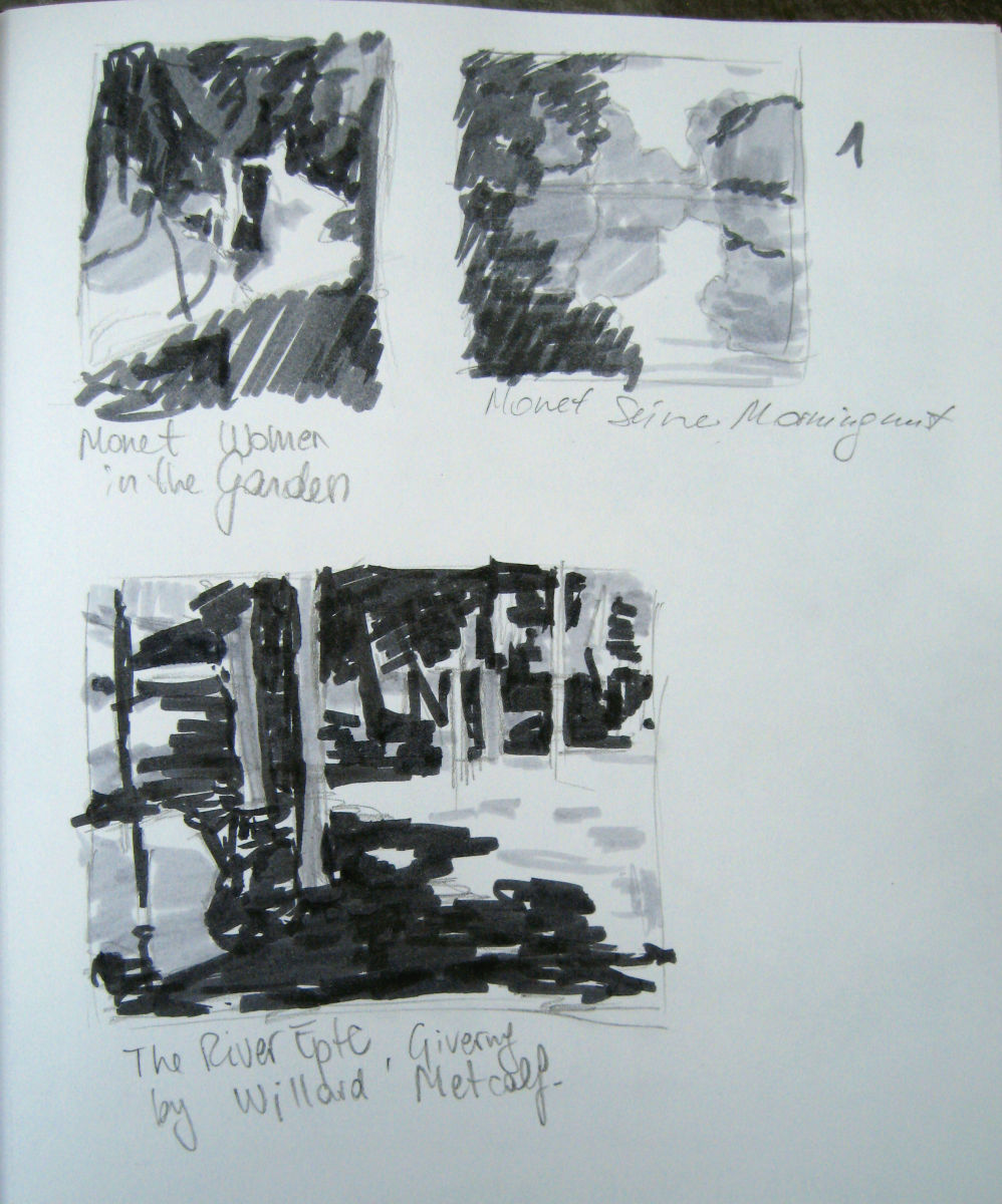 I made these value studies looking at some of my favorite impressionist paintings in a museum. I used value markers.