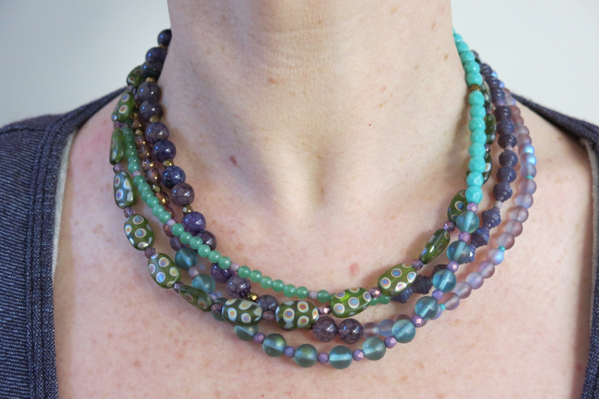 You can change the order of your strands of beads to create a different design to your beaded necklace.