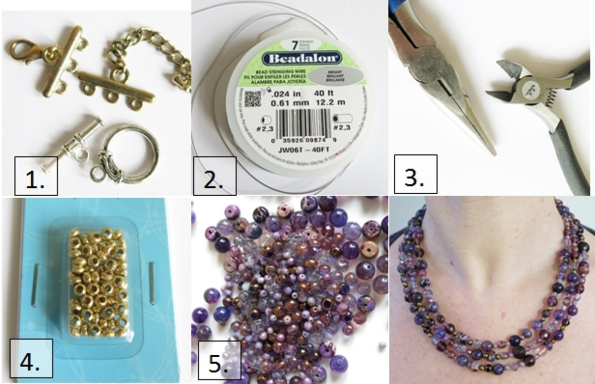 The materials for making a multi-strand beaded necklace are available at most craft stores that sell bead supplies.