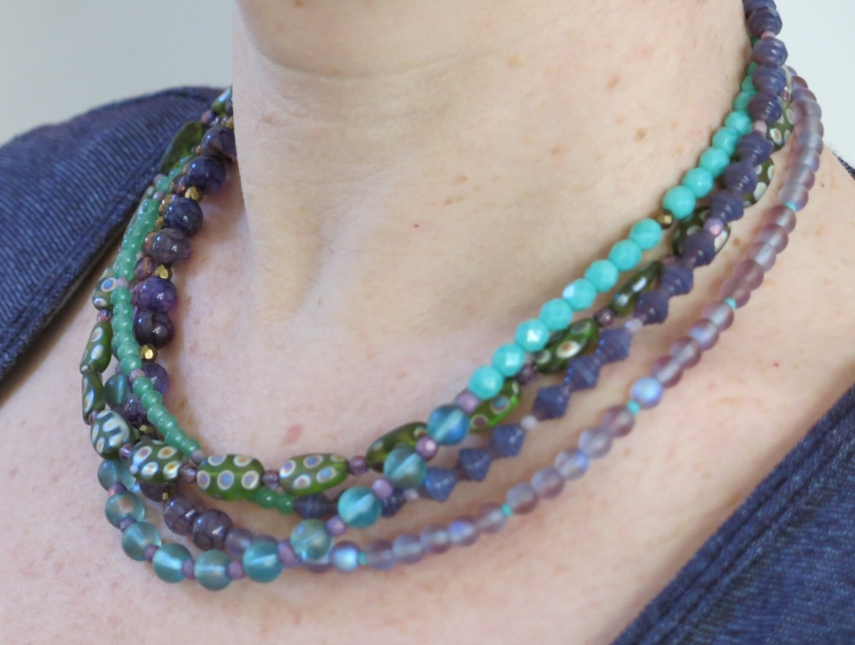 Multi-strand necklaces can be designed in many colors and styles.