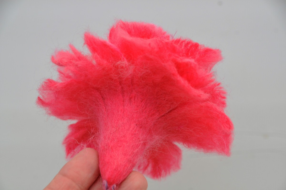 The underside of the flower perfectly felted together.